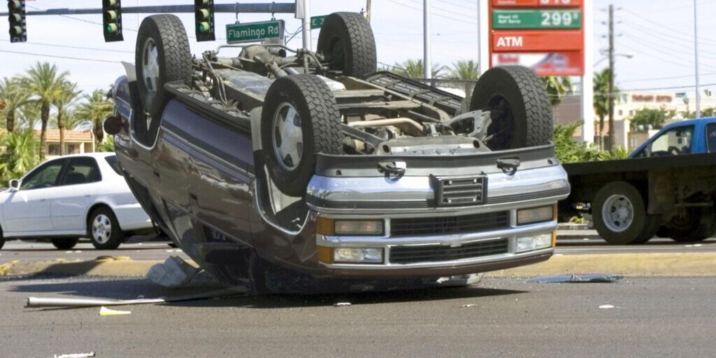 a turned over car due to accident